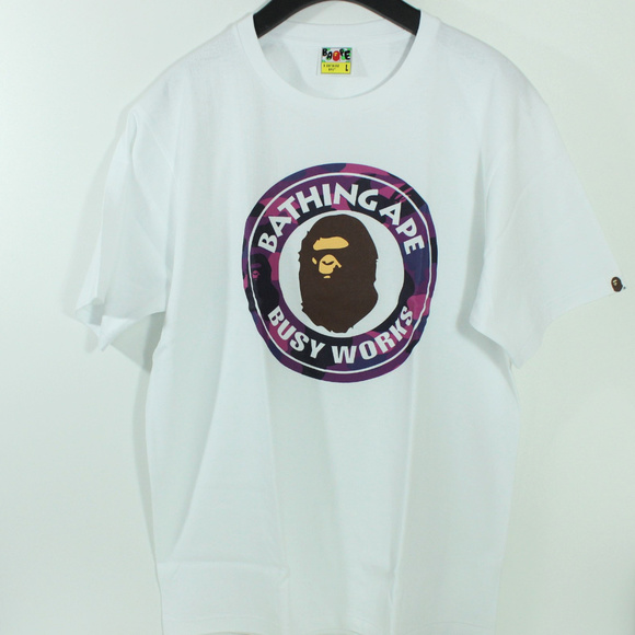 dcac2305 Bape Shirts | A Bathing Ape Spell Out Busy Work Purple Camo | Poshmark